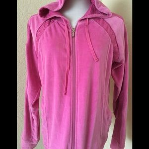 Athletic jacket full zipper front hoodie Hot Pink